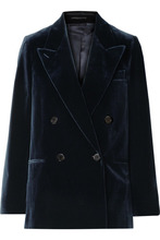 Acne Studios | Acne Studios - Double-breasted Cotton-velvet Blazer - Navy | Clouty
