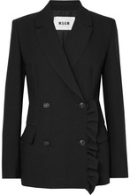 MSGM | MSGM - Ruffle-trimmed Stretch-crepe Blazer - Black | Clouty