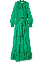 MSGM | MSGM - Pussy-bow Polka-dot Silk-chiffon Maxi Dress - Jade | Clouty