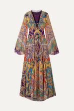 Etro | Etro - Lace-trimmed Fil Coupe Silk-blend Chiffon Maxi Dress - Purple | Clouty