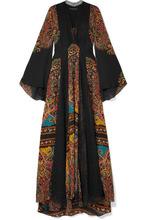 Etro | Etro - Lace-paneled Printed Silk-chiffon Maxi Dress - Black | Clouty