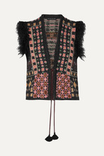Etro | Etro - Faux Fur-trimmed Jacquard-knit Vest - Black | Clouty