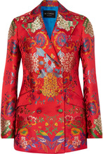 Etro | Etro - Double-breasted Floral Satin-jacquard Blazer - Red | Clouty