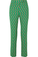Etro | Etro - Printed Cropped Crepe Slim-leg Pants - Green | Clouty