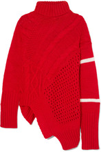 Preen Line | Preen Line - Serenity Asymmetric Paneled Knitted Turtleneck Sweater - Red | Clouty