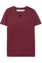 Off-White | Off-White - Flocked Cotton-jersey T-shirt - Burgundy | Clouty