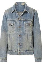 Off-White | Off-White - Printed Distressed Denim Jacket - Blue | Clouty