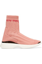 Acne Studios | Acne Studios - Batilda Mesh-trimmed Logo-jacquard Stretch-knit Sneakers - Pastel pink | Clouty