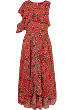 Maje | Maje - Ruffled Leopard-print Crepe Midi Dress - Coral | Clouty
