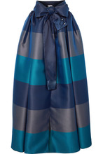 Alexis Mabille | Alexis Mabille - Bow-detailed Embellished Striped Satin-pique Maxi Skirt - Navy | Clouty