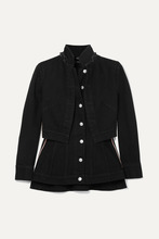 Alexander McQueen | Alexander McQueen - Layered Grosgrain-trimmed Denim Jacket - Black | Clouty