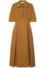 Marni | Marni - Gathered Canvas Midi Dress - Brown | Clouty
