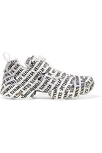 VETEMENTS   Vetements - + Reebok Instapump Fury Logo-print Leather And Mesh Sneakers - White   Clouty