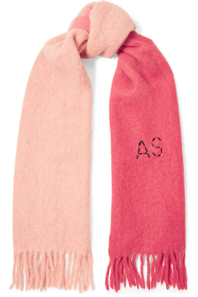Acne Studios | Acne Studios - Kelow Two-tone Embroidered Felt Scarf - Pink | Clouty