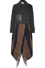 Loewe | Loewe - Cropped Asymmetric Cotton And Checked Wool-blend Trench Coat - Black | Clouty