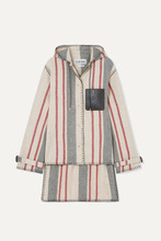 Loewe | Loewe - Hooded Striped Leather-trimmed Wool-canvas Jacket - Ivory | Clouty