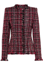 Alexander McQueen | Alexander McQueen - Frayed Tweed Blazer - Black | Clouty