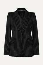 Alexander McQueen | Alexander McQueen - Pinstriped Wool-blend Blazer - Black | Clouty