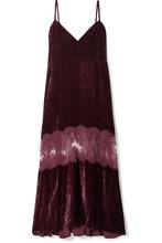 Stella McCartney | Stella McCartney - Kelsey Lace-paneled Velvet Dress - Merlot | Clouty