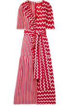 Stella McCartney | Stella McCartney - Ruffle-trimmed Printed Silk-moire Maxi Dress - Red | Clouty