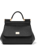Dolce & Gabbana | Dolce & Gabbana - Sicily Micro Textured-leather Tote - Black | Clouty