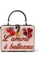 Dolce & Gabbana | Dolce & Gabbana - Dolce Box Embellished Textured-leather Clutch - Pink | Clouty