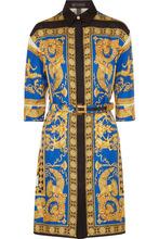 Versace | Versace - Printed Silk-twill Shirt Dress - Gold | Clouty