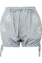 Innika Choo | Innika Choo - Embroidered Linen Shorts - Gray | Clouty