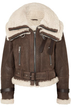 BURBERRY | Burberry - Shearling-trimmed Textured-leather Jacket - Brown | Clouty