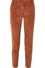 Paul & Joe | Paul & Joe - Cropped Stretch-cotton Corduroy Tapered Pants - Brick | Clouty
