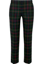 BURBERRY | Burberry - Checked Wool-blend Straight-leg Pants - Navy | Clouty