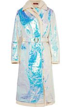 Sies Marjan | Sies Marjan - Devin Layered Iridescent Coated-shell And Cotton-canvas Trench Coat - Platinum | Clouty