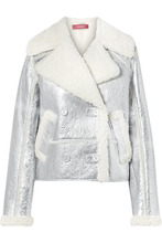 Sies Marjan | Sies Marjan - Hensley Metallic Textured-leather And Shearling Jacket - Silver | Clouty