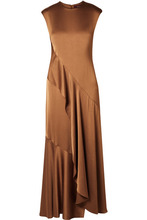 Sies Marjan | Sies Marjan - Zariah Draped Satin-crepe Maxi Dress - Light brown | Clouty