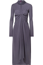 Sies Marjan | Sies Marjan - Frances Twist-front Washed-silk And Tulle Turtleneck Midi Dress - Purple | Clouty