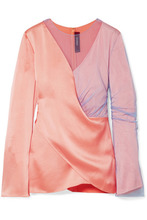 Sies Marjan | Sies Marjan - Bari Draped Satin And Tulle Blouse - Peach | Clouty