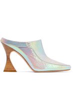 Sies Marjan | Sies Marjan - Dena Iridescent Crinkled-leather Mules - Silver | Clouty