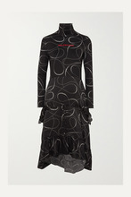 Balenciaga | Balenciaga - Printed Jersey And Silk-jacquard Turtleneck Dress - Black | Clouty