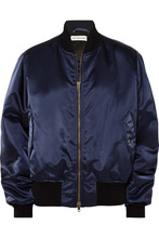 Balenciaga | Balenciaga - Embroidered Satin Bomber Jacket - Navy | Clouty