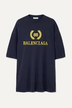 Balenciaga | Balenciaga - Oversized Printed Cotton-jersey T-shirt - Navy | Clouty