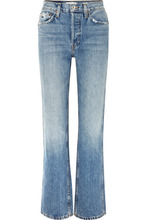 Re/Done | RE/DONE - Originals Distressed High-rise Straight-leg Jeans - Mid denim | Clouty