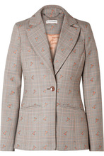 Altuzarra | Altuzarra - Embroidered Checked Wool-blend Blazer - Beige | Clouty