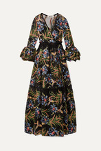 Diane Von Furstenberg | Diane von Furstenberg - Velvet-trimmed Embroidered Tulle And Satin Maxi Dress - Black | Clouty