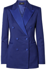 Theory | Theory - Satin-trimmed Crepe Tuxedo Blazer - Blue | Clouty