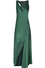 Theory   Theory - Cutout Satin Maxi Dress - Emerald   Clouty