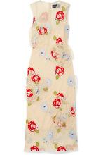 SIMONE ROCHA   Simone Rocha - Embroidered Tulle Midi Dress - Beige   Clouty