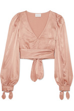 Alice Mccall | alice McCALL - I Like That Cropped Satin Top - Sand | Clouty
