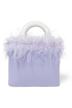 Staud | STAUD - Nic Feather-trimmed Patent-leather Tote - Lavender | Clouty