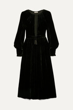 Ulla Johnson | Ulla Johnson - Talitha Tie-neck Velvet Midi Dress - Black | Clouty