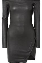 Rta | RtA - Electra Off-the-shoulder Stretch-leather Mini Dress - Black | Clouty